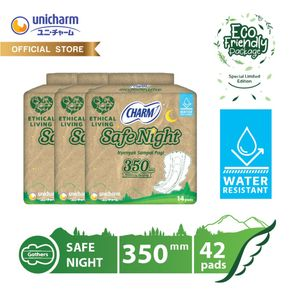 [SPECIAL EDITION] Charm Pembalut Safe Night 35cm Wing Gather 14 pads Eco Polybag - 3 Packs