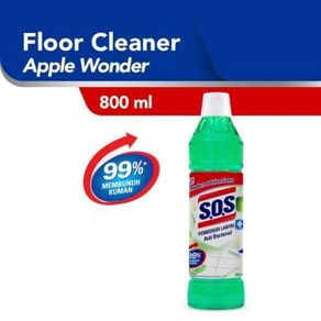 SOS Floor Cleaner Green Apple Bottle Apel Hijau Botol Pembersih Lantai [800 mL]